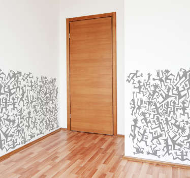 Detailed adhesive drawing by illustrator Pierino Gallucci for tenstickers.co.uk of a chaotic pattern of small figures.