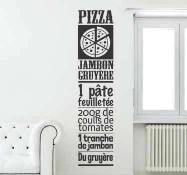 Plus besoin d'allez chercher sa recette de pizza au fond de vos tiroirs grâce à ce stickers !Super idée déco pour votre cuisine.