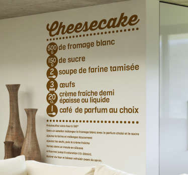 Vinilo decorativo receta cheesecake