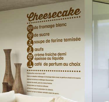 Sticker cuisine cheesecake