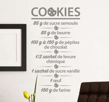 Vinilo decorativo receta cookies