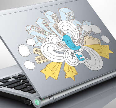 Laptop Stickers - Illustration ideal for active Twitter users.
