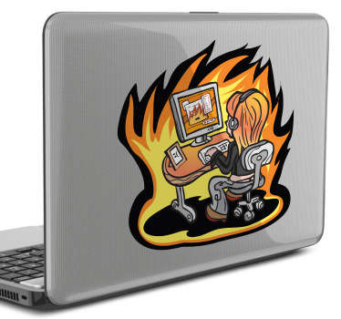 A laptop sticker with an illustration of a young hacker in action sitting at her desk.