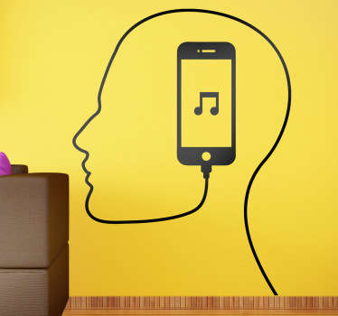 Wall Stickers - Single colour illustration of the outline of a man´s head from a cable connected to a music device.