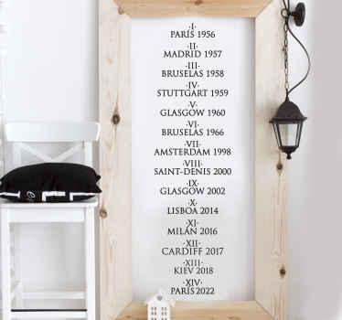 Vinilo decorativo lista Champions Madrid