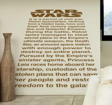 Vinilo decorativo texto inicial star wars