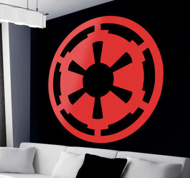 Sticker mural représentant le symbole Sith tiré de la saga Star Wars. Grâce à ce sticker passez du côté obscur de la force.