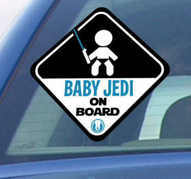 "Car sticker with the phrase ""Baby Jedi on Board"", from our collection of baby on board stickers. This awesome vehicle decal clearly shows to the driver behind you that you are carrying a kid in your car while also showing your love of the Star Wars movies."