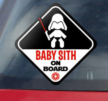 Original sticker for your car to warn the other vehicles that you are travelling with a little Darth Vader.