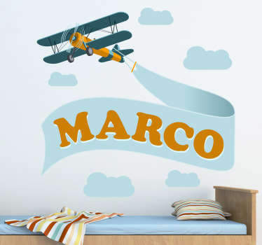 A personalised wall sticker illustrating an aircraft design ideal for decorating kid's bedrooms. Brilliant plane decal to give their room a new and fresh atmosphere.