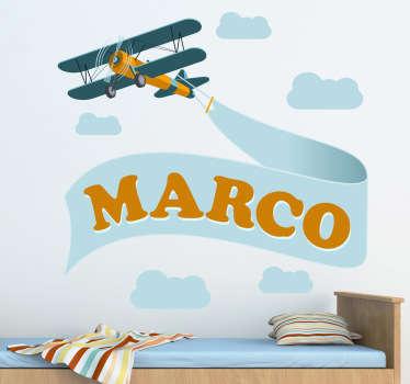Personalised Biplane Kids Sticker