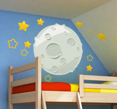 A kids bedroom sticker of a comic style illustration of the moon and golden stars. The moon and stars sticker is great for decorating a nursery, bedroom or other play areas.