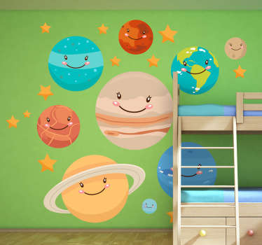 A brilliant collection of planet decals to decorate the bedroom of the little ones! Superb space wall sticker for their playroom. Includes Mercury, Venus, Earth, Mars, Jupiter, Saturn, Uranus, Neptune and stars.