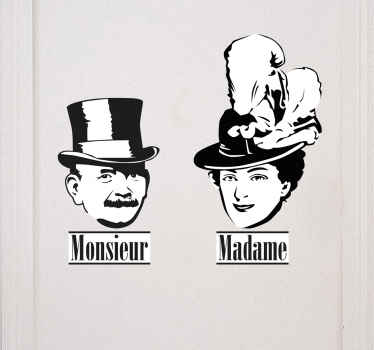 French Monsieur and Madame Wall Sticker