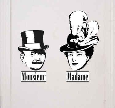 Fransk monsieur och madame vägg klistermärke