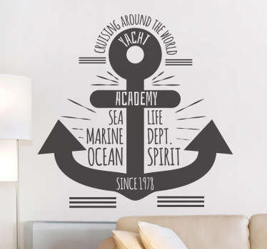 Anchor with Text Sea Wall Sticker