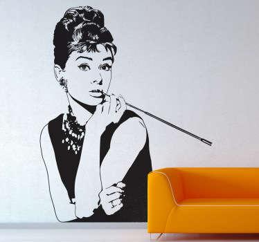 Un sticker qui représente le portrait de l'une des plus célèbres actrices américaines du siècle précédent, Audrey Hepburn.