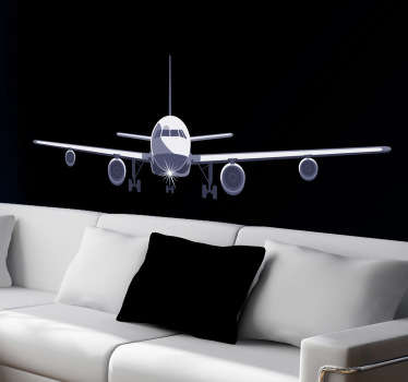 Airplane wall sticker of an approaching aircraft about to land Ideal for future pilots and aviation lovers. Available in various sizes and super easy to apply vinyl adhesive.