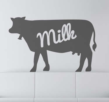 "Decals - Silhouette illustration of a cow with the text ""milk"". Available in various sizes and in 50 colours."
