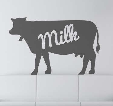 """Dekaler - silhuetillustration af en ko med teksten """"mælk"""". Fås i forskellige størrelser og i 50 farver."""