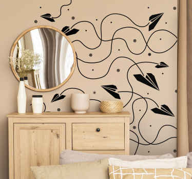 Autocolante decorativo ornamental com ilustração monocromática espetacular com vários aviões voando pelas paredes do seu quarto.