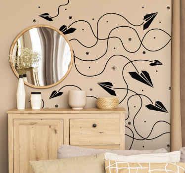 Vinilo decorativo textura aviones papel
