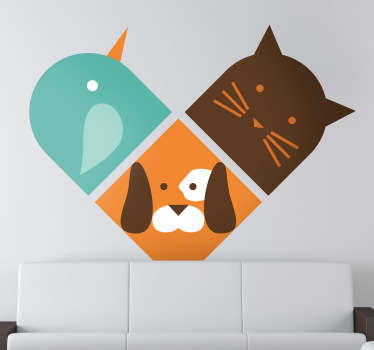 Heart Trio Animals Wall Sticker