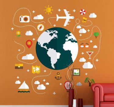 Sticker decorativo un mondo di viaggi