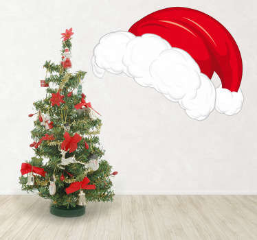 Room Stickers - Get the Christmas feeling with this white and red hat of father Christmas