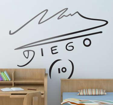 Maradona Autograph Football Sticker