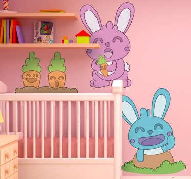 Sticker infantil conejos y zanahorias