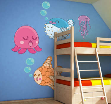 A collection of playful fun illustrations by artist Jaume Salés exclusively for Tenstickers. A brilliant design from our under the sea wall stickers collection. Sticker set containing an octopus, blowfish, goldfish and a jelly fish to create a relaxing atmosphere for your child's nursery.