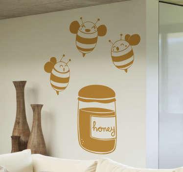 Vinilo decorativo abejas y miel