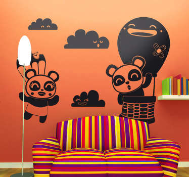 Kids Wall Stickers - Original Japanese comic style illustrations of two pandas in the sky surrounded by clouds. Illustration by Jaume Salés.