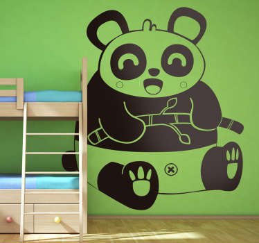 Kids Wall Stickers - Original Japanese comic style illustration of a big friendly happy panda. Illustration by Jaume Salés.