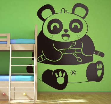 Vinilo infantil dibujo panda riendo