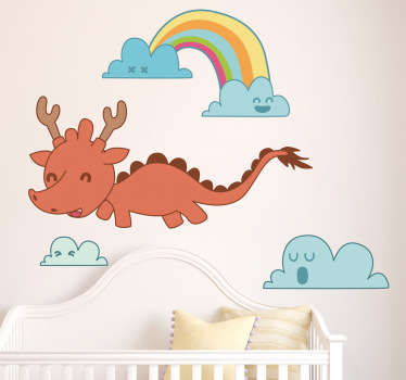 Kids Wall Stickers - Original Japanese comic style illustration of a flying baby dragon through the clouds. Illustration by Jaume Salés.