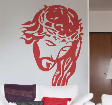 A brilliant monochrome sticker design illustrating Jesus with the crown of thorns on his head. Design from our collection of Christian wall art.