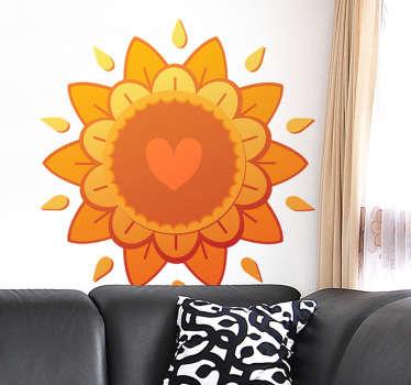 Wandtattoo Sonne und Herzen