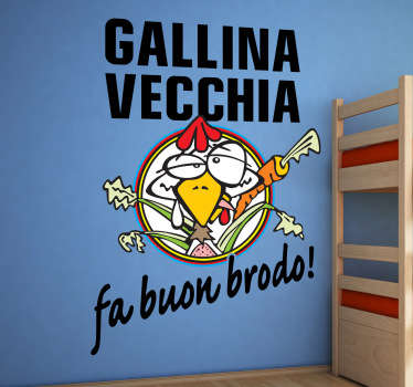 Sticker decorativo gallina vecchia Rossi