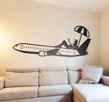 Sticker vliegtuig parasol zonnen vakantie