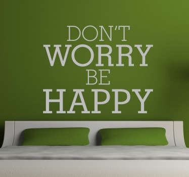 "Song Lyrics wall stickers - From the classic hit song in 1988, ""Dont Worry, Be Happy"" by Bobby McFerrin. One of our many motivational wall stickers."