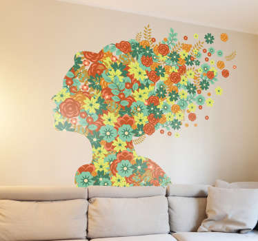 Wall Stickers - Silhouette illustration of a female filled with flowers. Distinctive feature to decorate your home or business with.