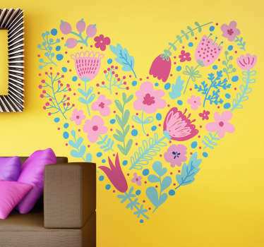 A fantastic heart made from wild flower illustrations. Splendid flower decal from our collection of heart stickers to decorate your home.