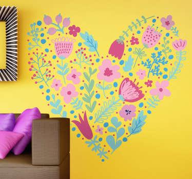 Autocollant mural cœur floral