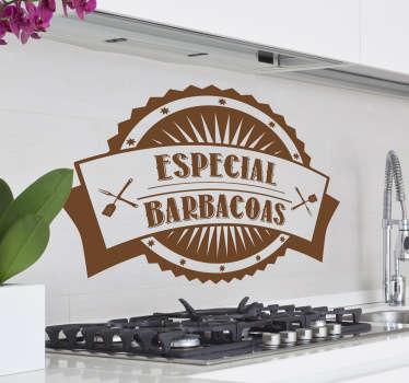 Adhesivo con aire retro para aquellos que gustan de hacer asados los domingos en casa.