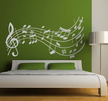 Autocollant mural envol note musique