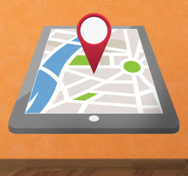 A sticker with an illustration of a perspective iPad app with a map pointing to a particular location.