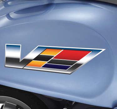 Recreación tridemensional en pegatina de un logo de la famosa marca de vehículos americanos.