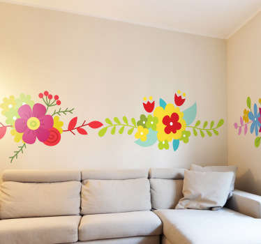A bright and beautiful floral border sticker that can revamp and transform dull and boring rooms.